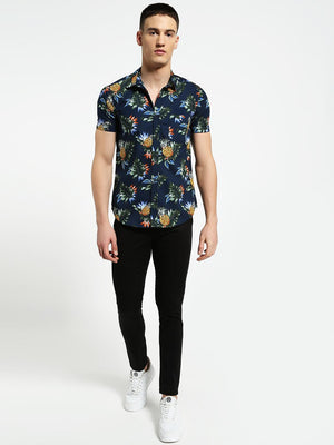Lazy panda  tropical pineapple print shirt