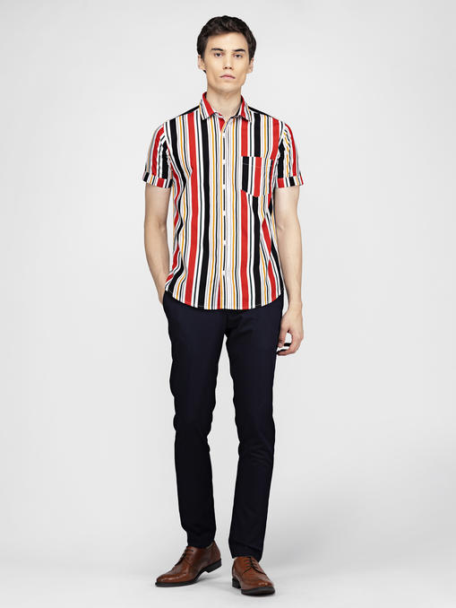 Multi colour stripe print shirt