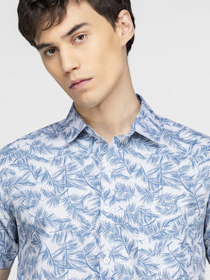 Blue tropical leaf printed shirt