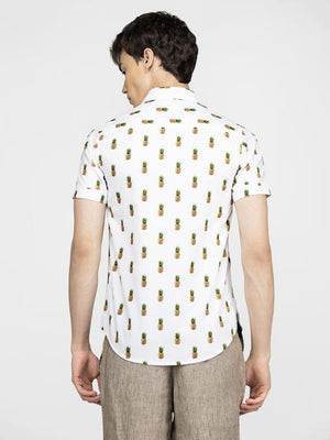 Pineapple printed off white shirt
