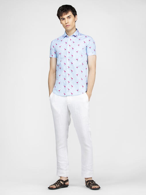Flamingo bird printed blue shirt