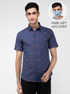 Lazy panda Toco toucan bird printed blue shirt