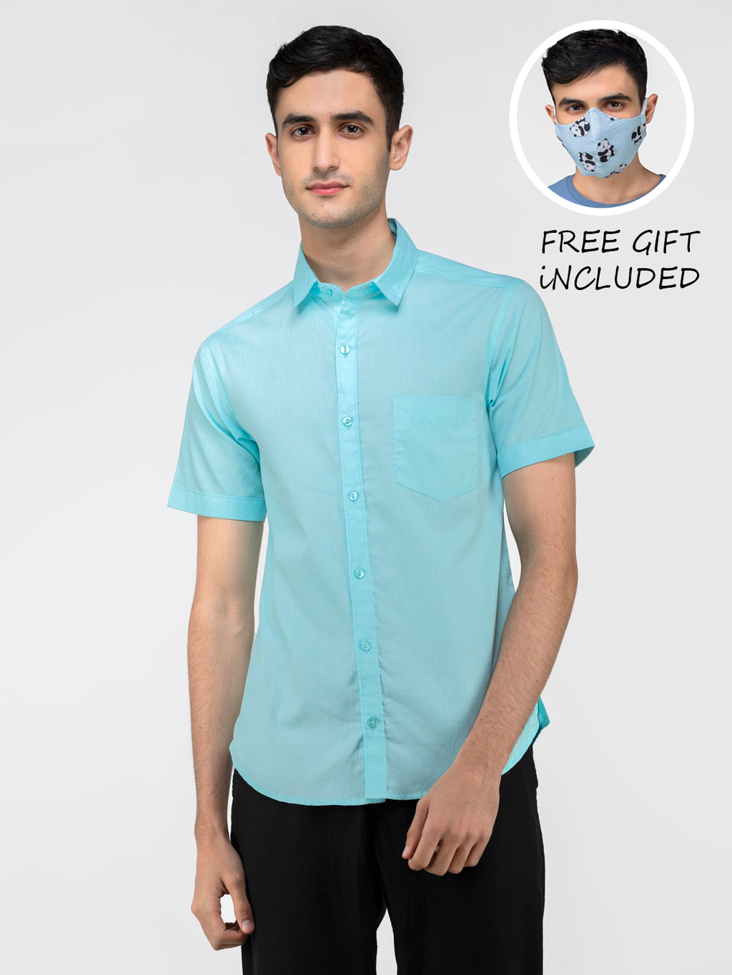 Lazy panda sky blue solid shirt