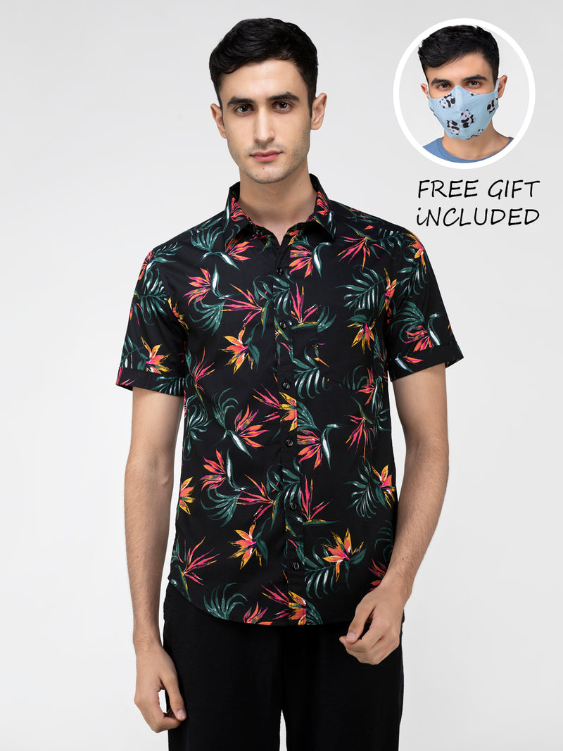 Lazy panda floral printed black shirt