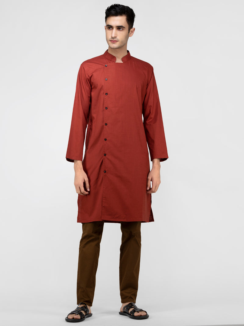 Lazy panda rust cotton kurta