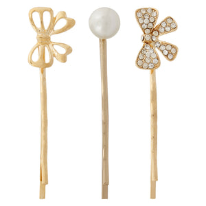 Blueberry set of 3 gold hairpins
