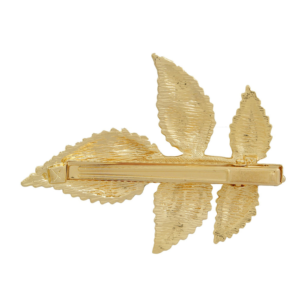 Blueberry gold leafy hair clip