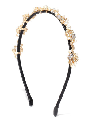 Gold toned floral studded hair band