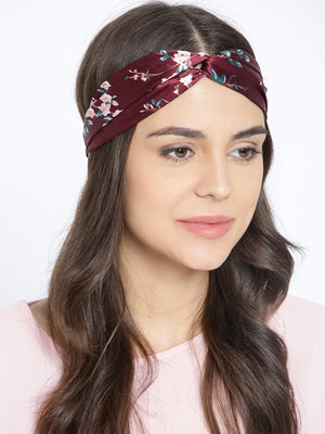 Blueberry brown satin headwrap with multi coloured printed