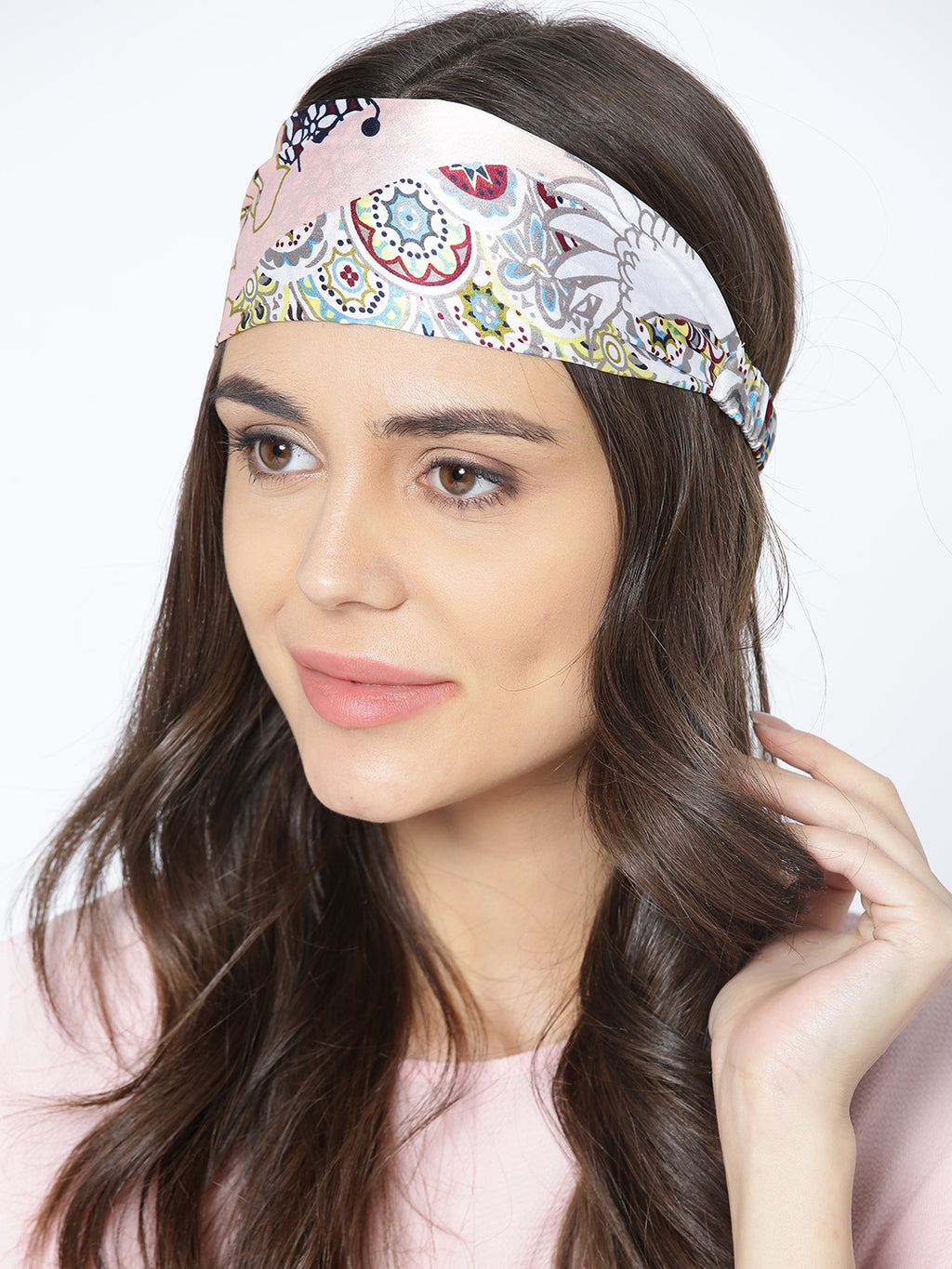 Blueberry multi coloured printed satin headwrap