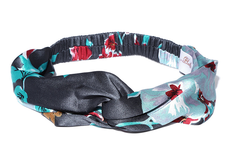 Blueberry multi coloured printes satin hairband
