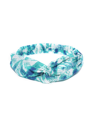 Blueberry blue color printed hair band
