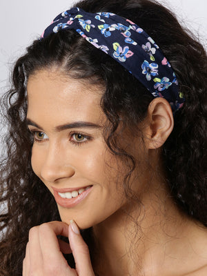 Blueberry multi colour floral print knoted hair band