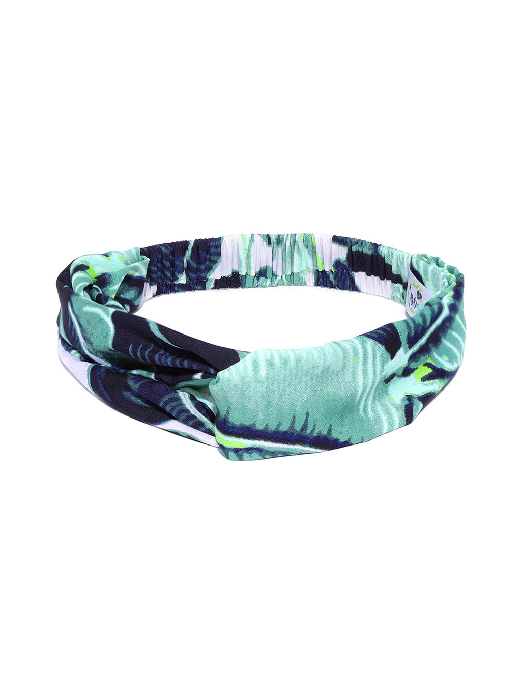Blueberry green printed knot detailing hair band