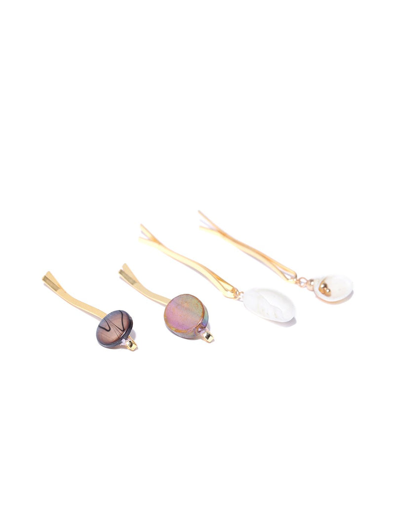 Blueberry set of 4 shell and stone detailing hair pins