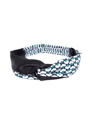 Blueberry multi color printed knot detailing hair band
