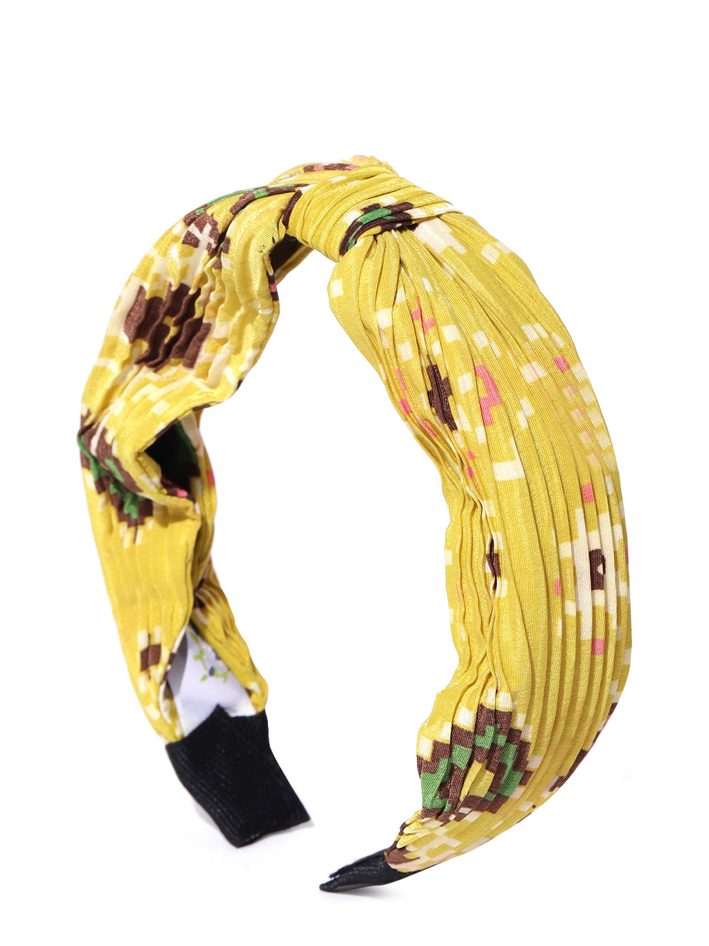 Blueberry multi colour printed knot detailing yellow hairband