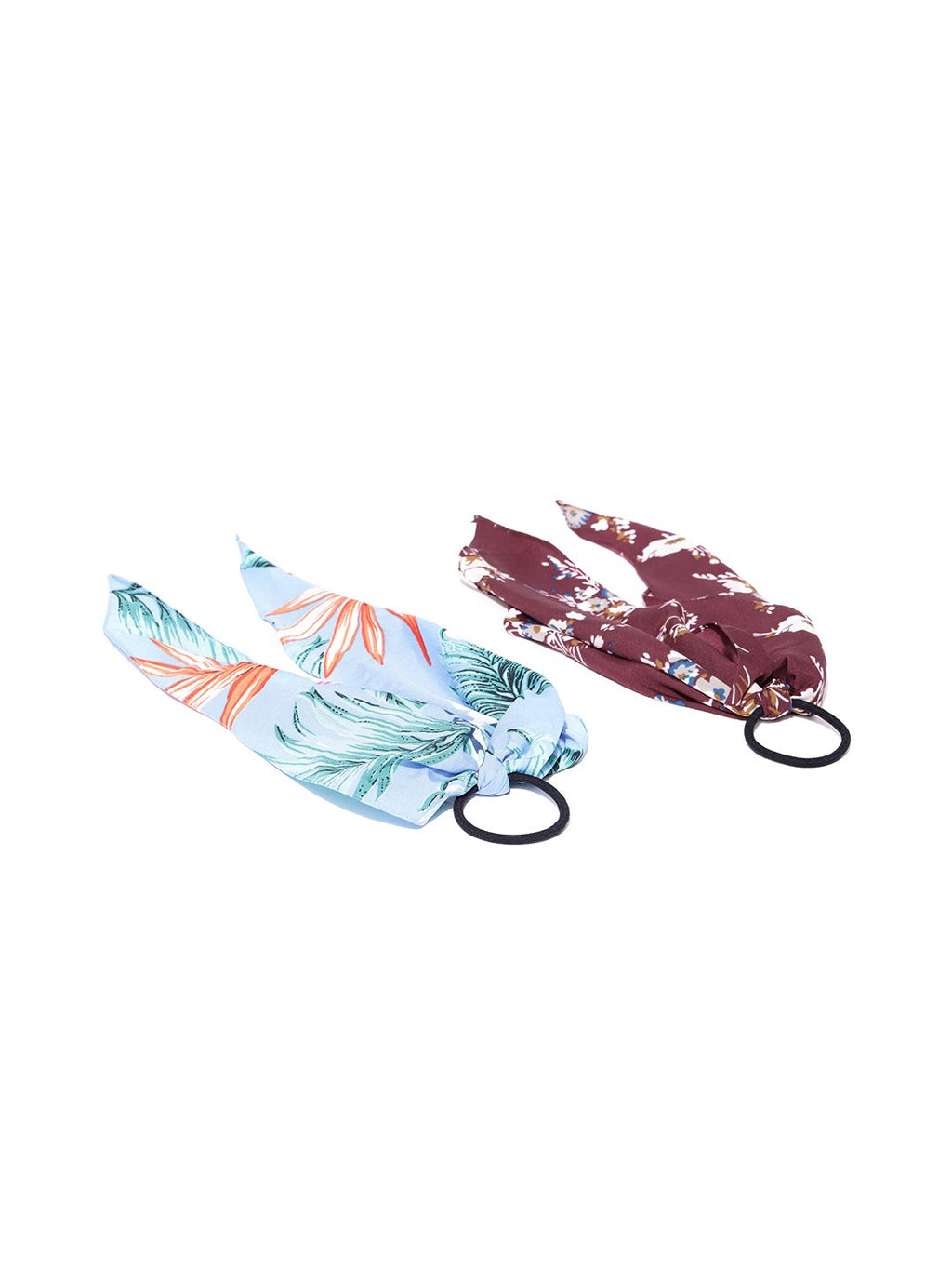 Blueberry set of 2 blue and brown multi colour print ponytail holder