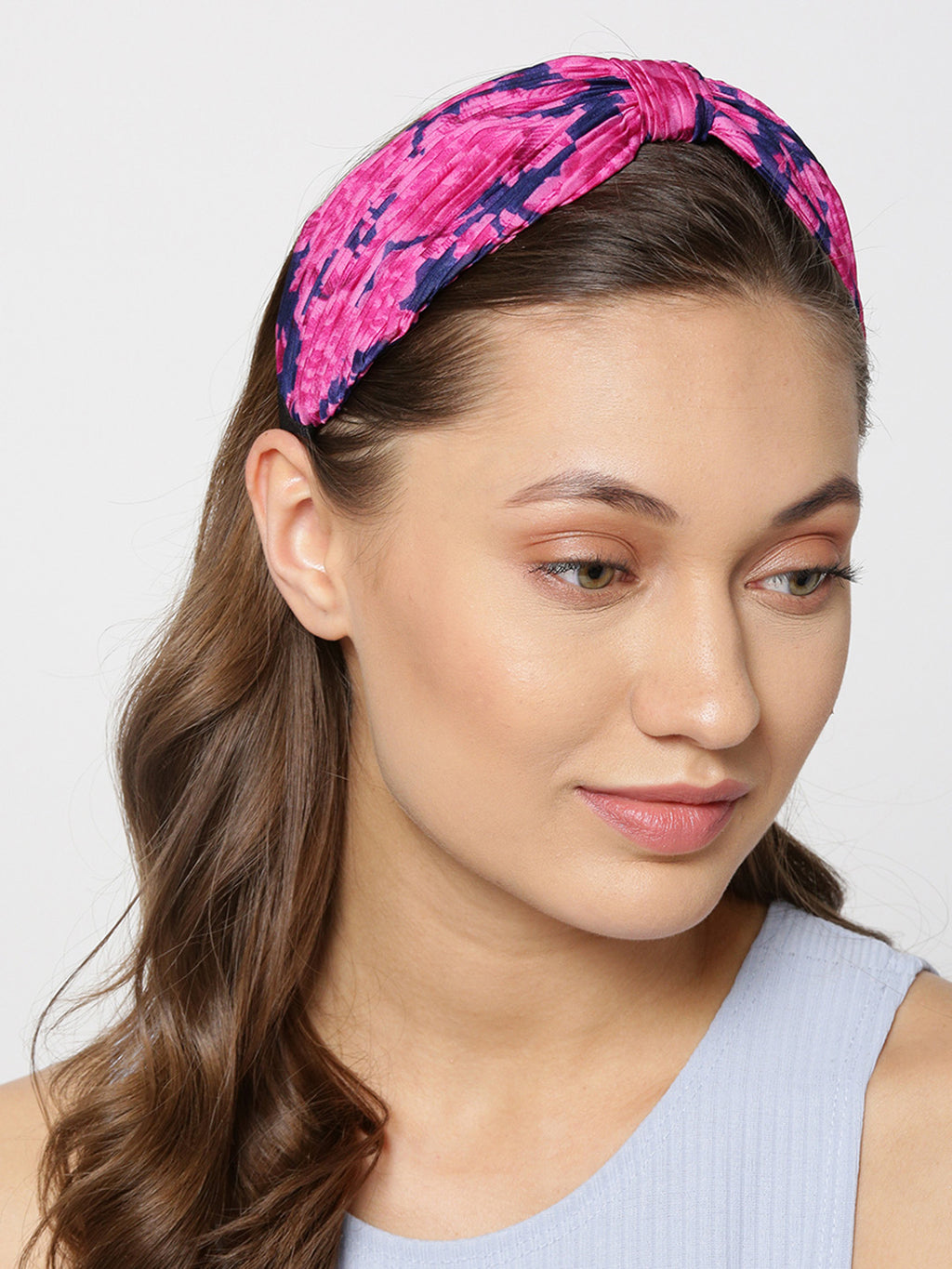 Blueberry pink and blue printed knot detailing pleated hairband