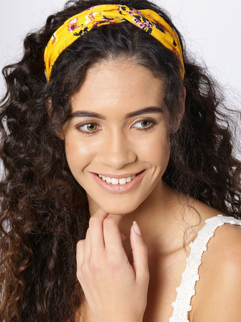 Blueberry yellow color floral printed knotted hairband