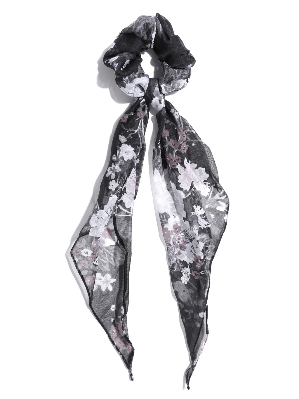 Blueberry black colour floral printed scrunchie