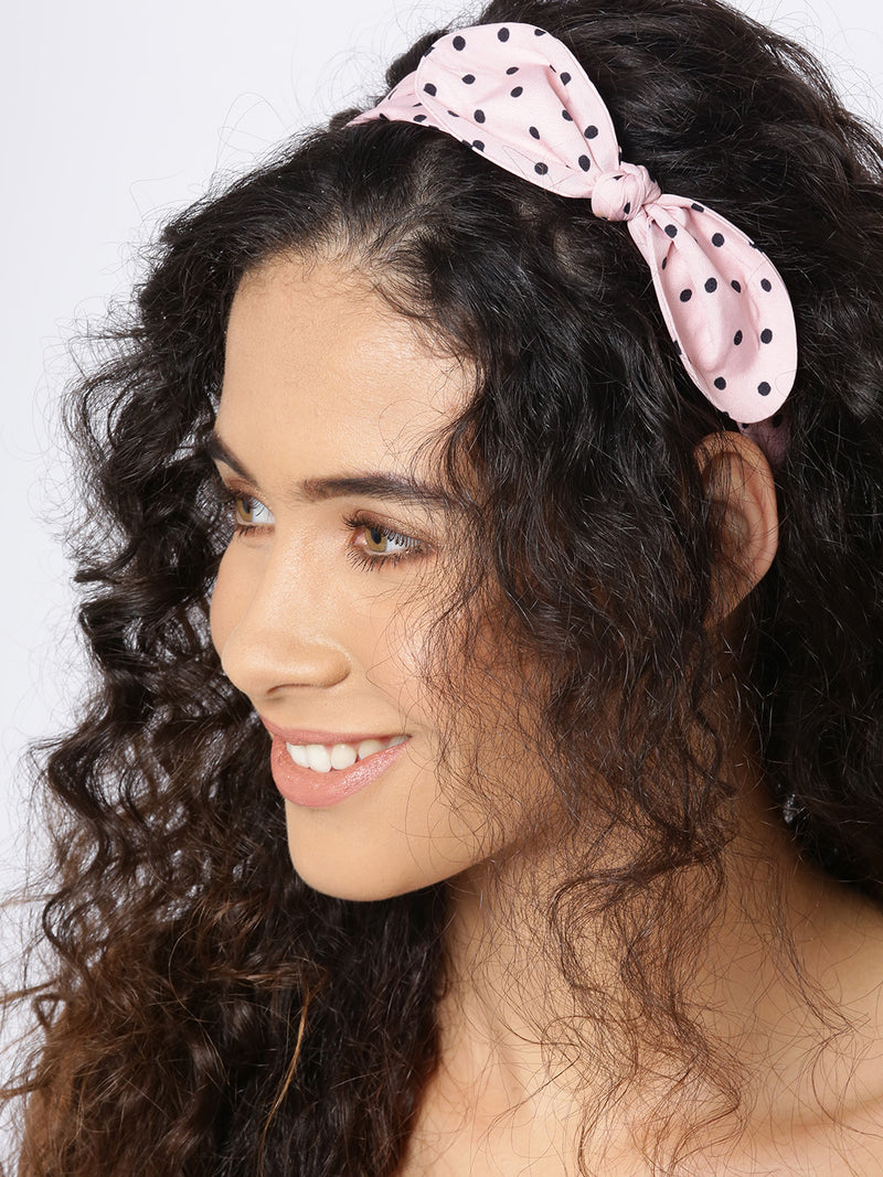 Blueberry black dotted pink bunny ear shape hair band