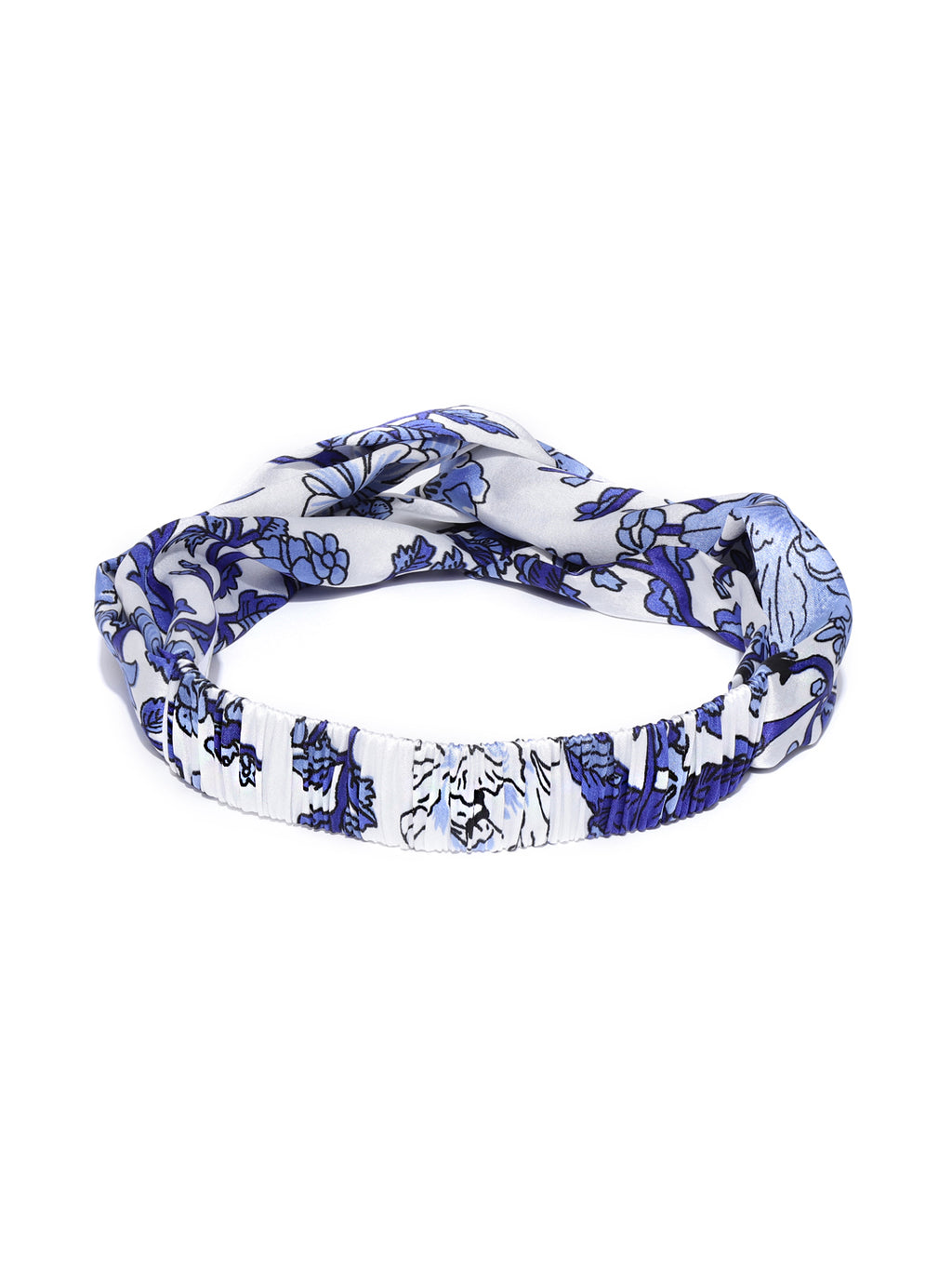 Blueberry blue floral knot detailing white hair band