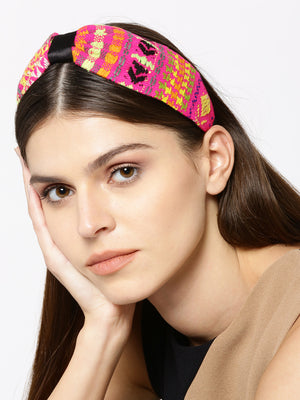 Blueberry multi colour embroidery fabric hairband