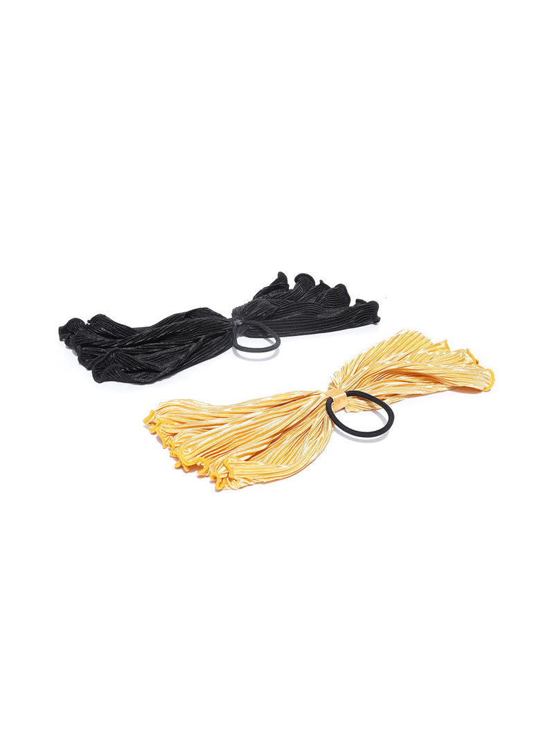 Blueberry set of 2 yellow and black colour ponytail holder