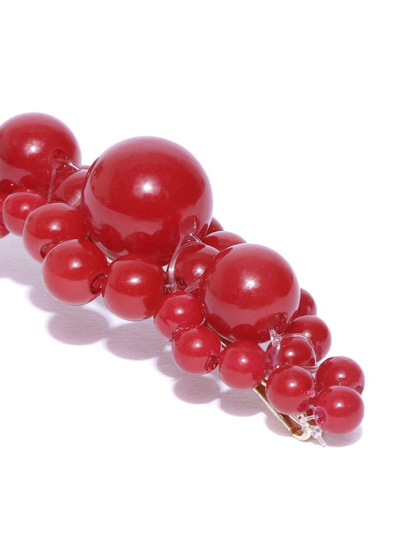 Blueberry red colour berry beads detailing hair pin