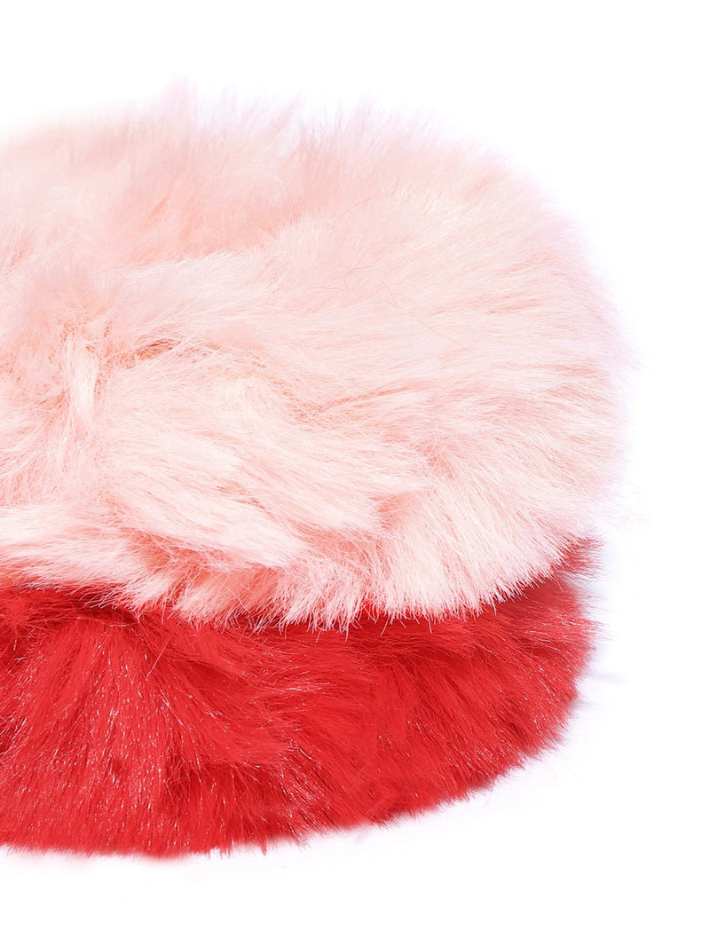 Blueberry set of 2 red and peach faux fur scrunchie