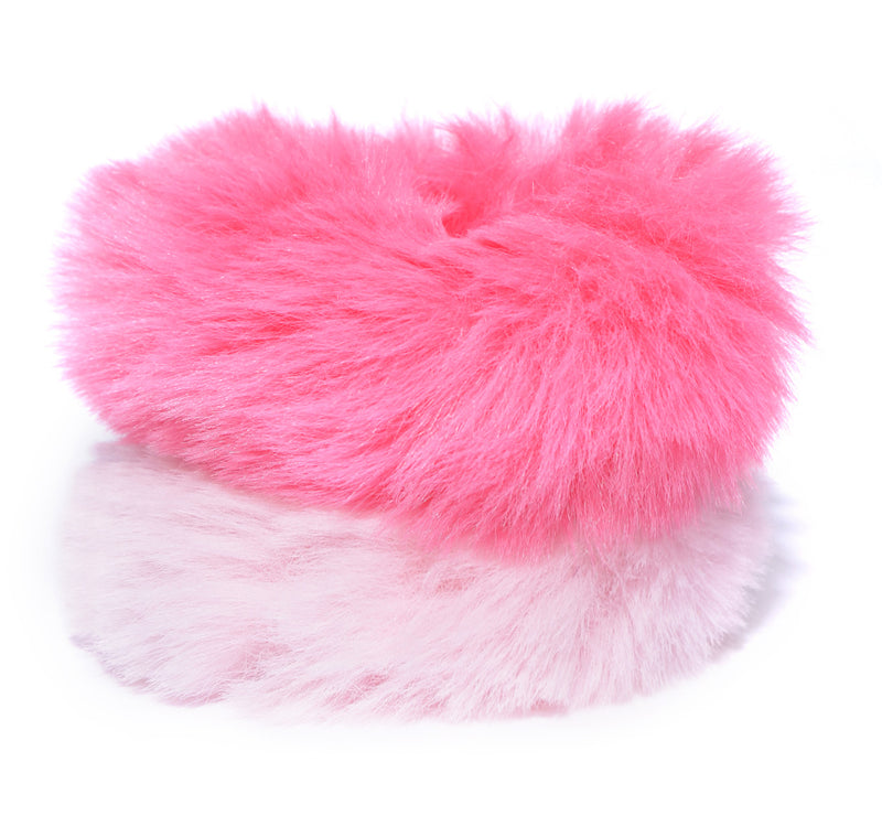 Blueberry set of 2 pink and peach faux fur scrunchie