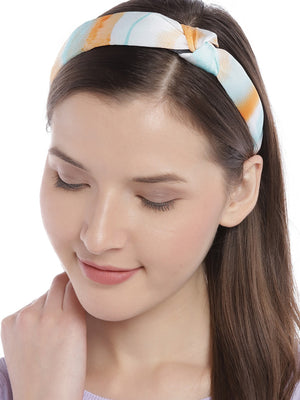 Blueberry multi print satin knot hairband