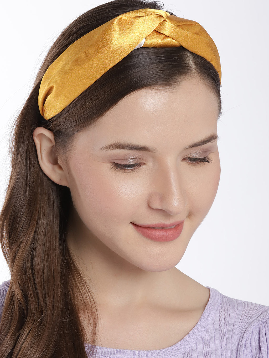 Blueberry mustard and beige double tone knot hairband