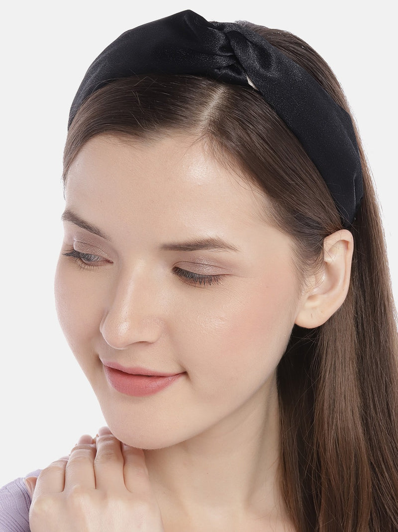 Blueberry black and beige double tone knot hairband