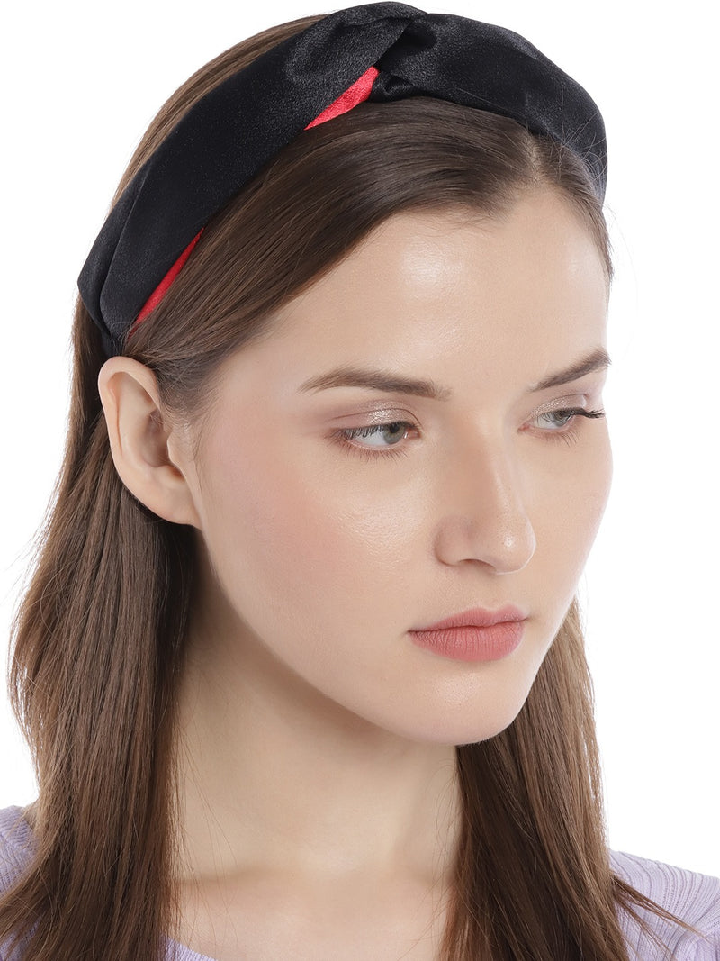 Blueberry black and red double tone knot hairband