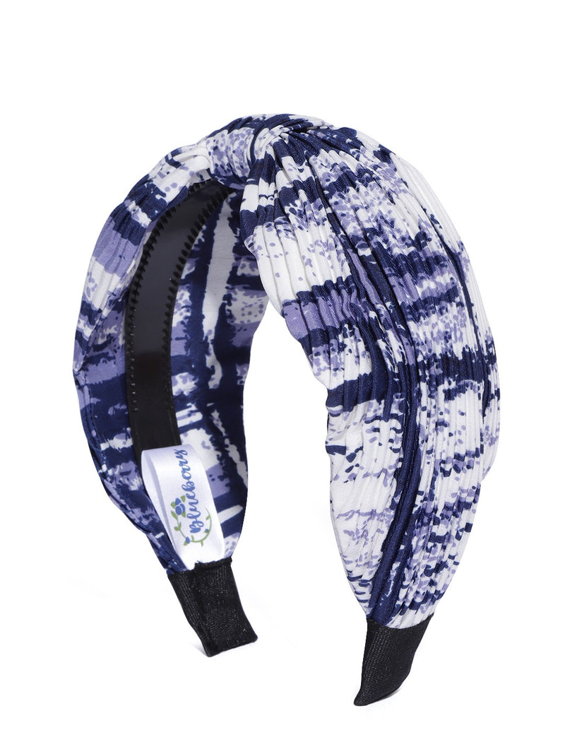 Blueberry blue & white printed pleated knot hairband