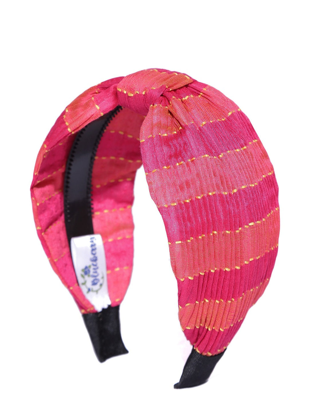 Blueberry pink & coral pleated knot hairband