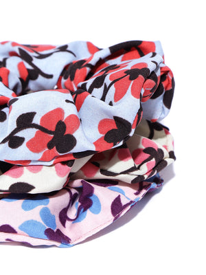 Blueberry set of 3 multi floral printed pretty scrunchies