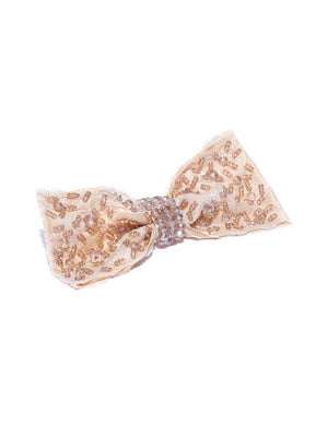 Blueberry beige crystal beads embellished handcrafted hair bow clip
