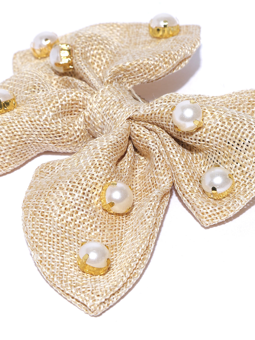Blueberry beige jute pearl Embellishment hair bow clip