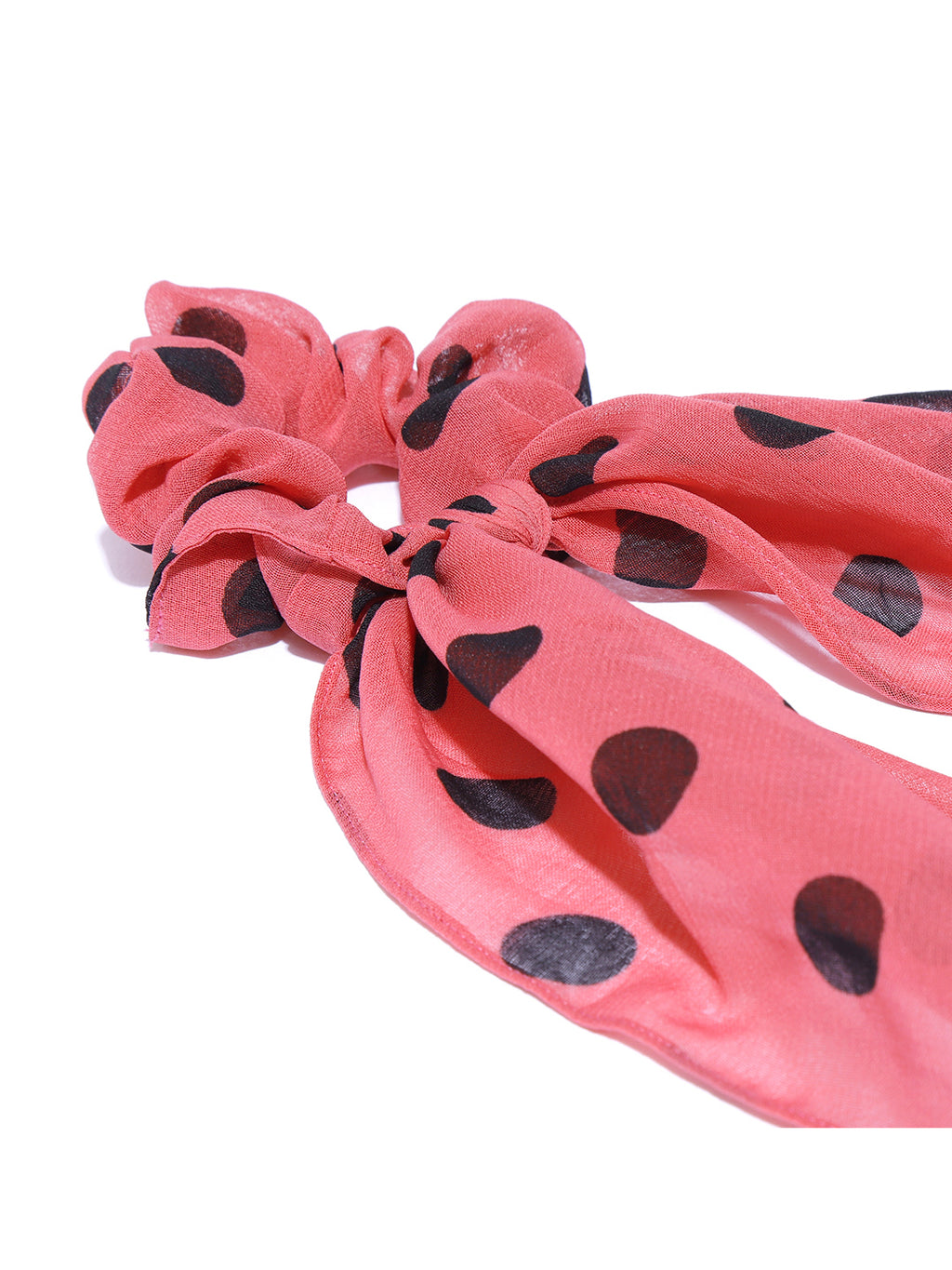 Blueberry black doted pink ruffle scrunchie