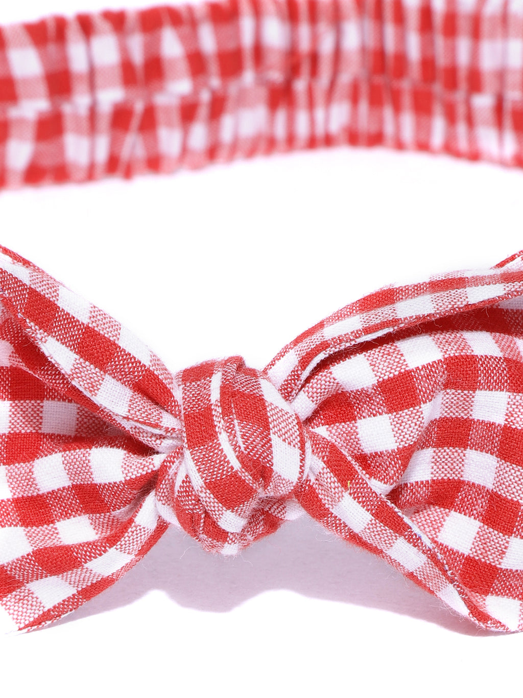 Blueberry red & white check pattern bunny knot hairband