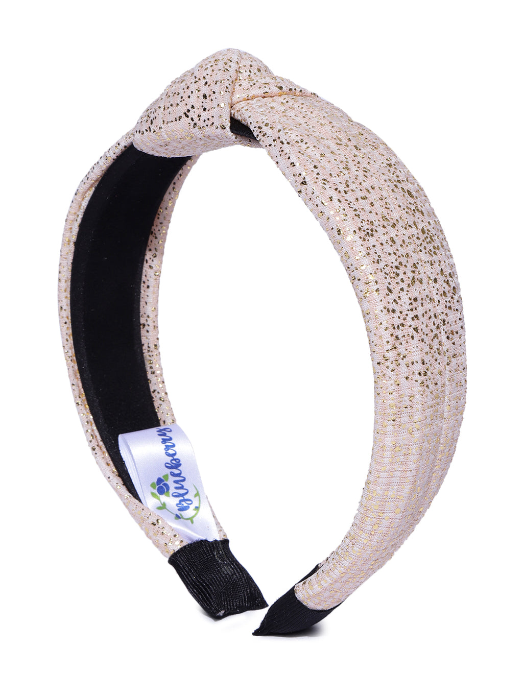 Blueberry golden glitter knot beige hairband