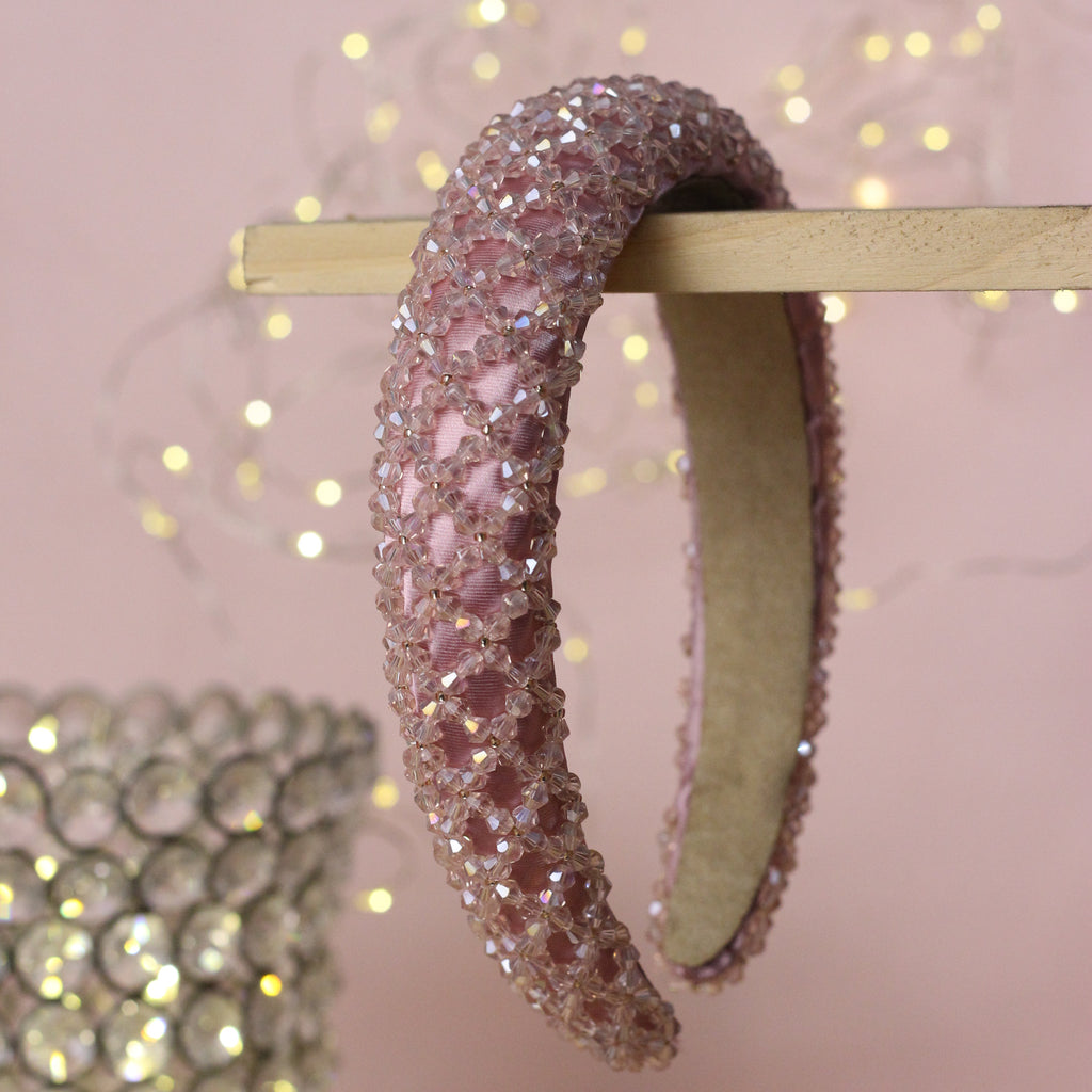 Blueberry pink beaded hairband