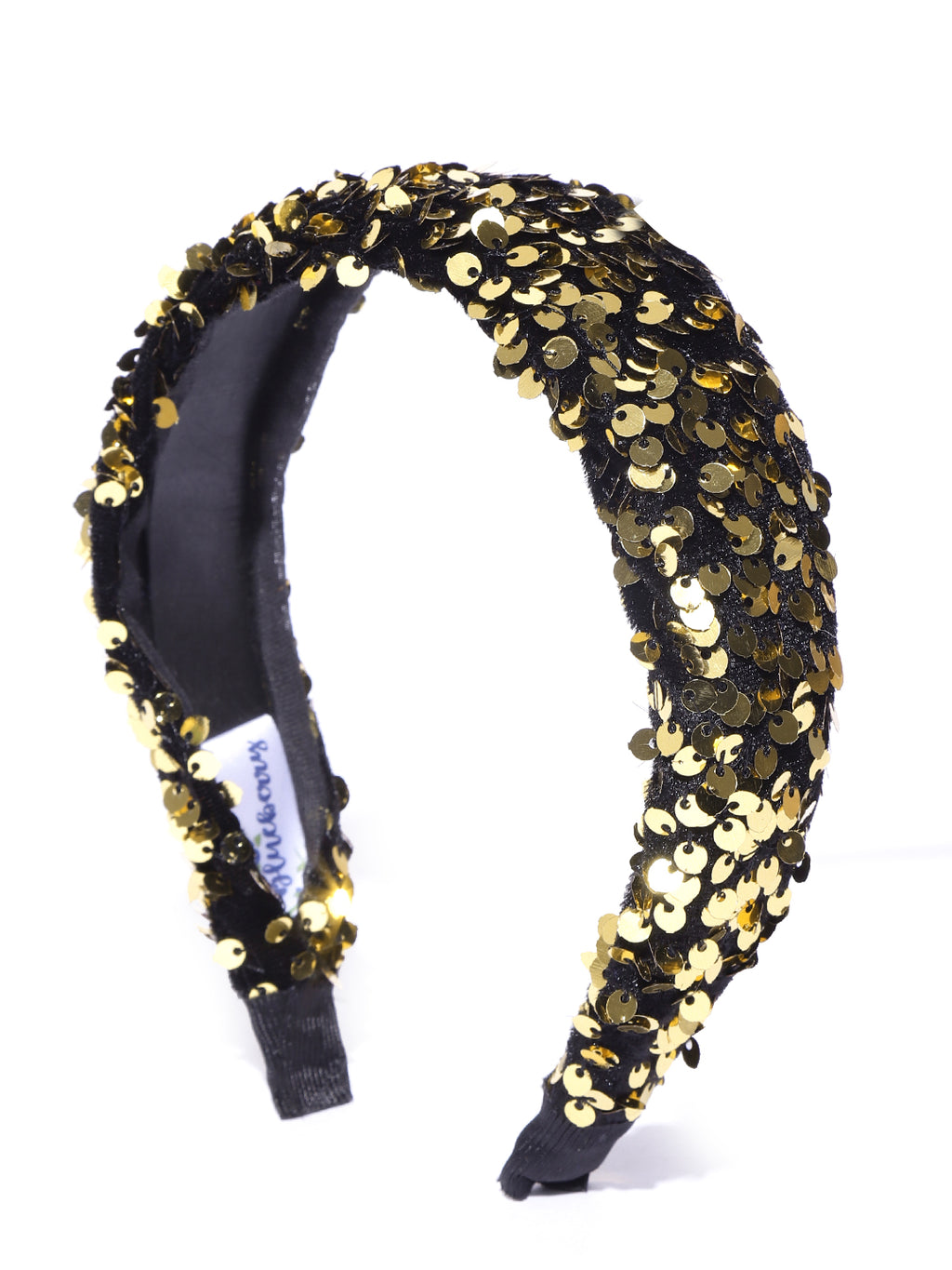 Blueberry golden sequence enmbellished black hairband