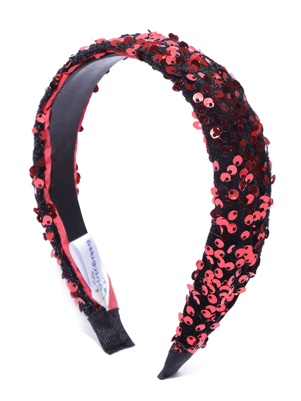 Blueberry red sequence embellished black hairband