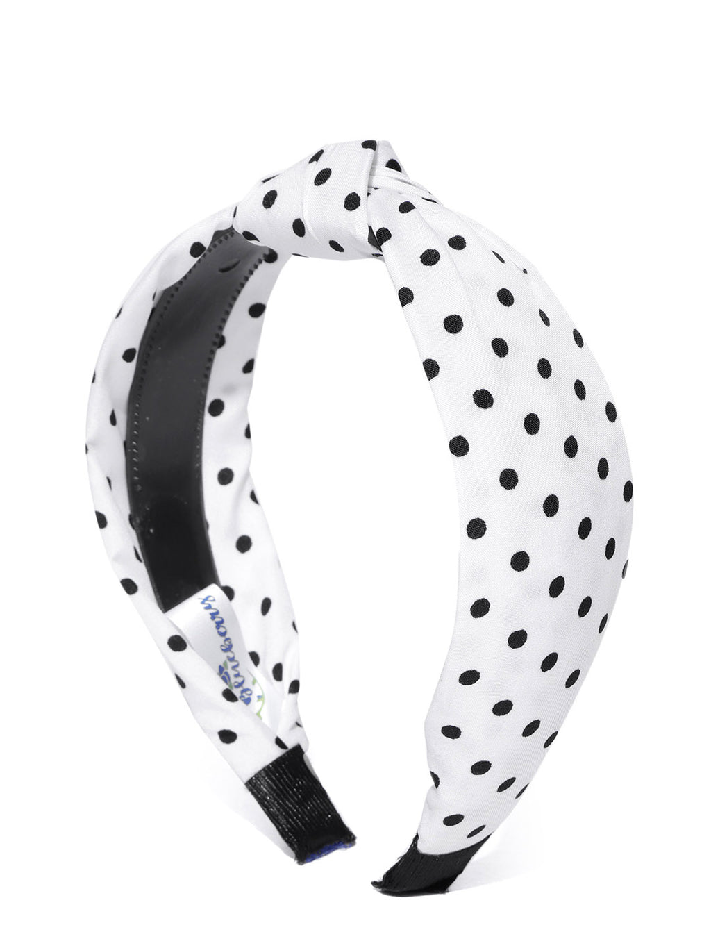 Blueberry Black polka dot printed white knot hairband