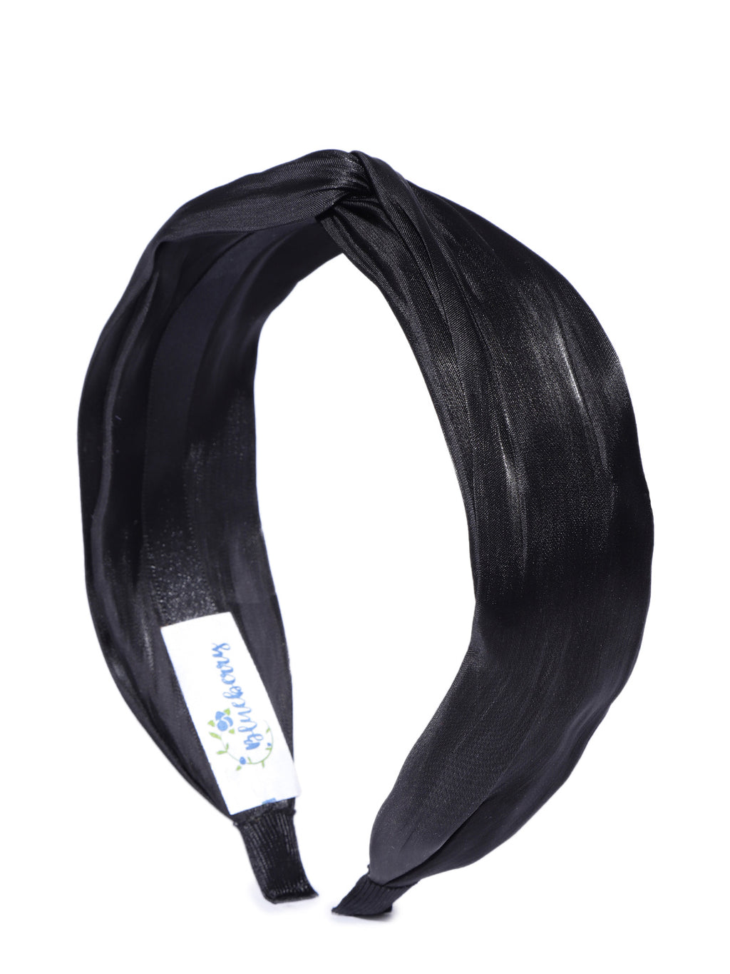 Blueberry Black pleated knot hairband