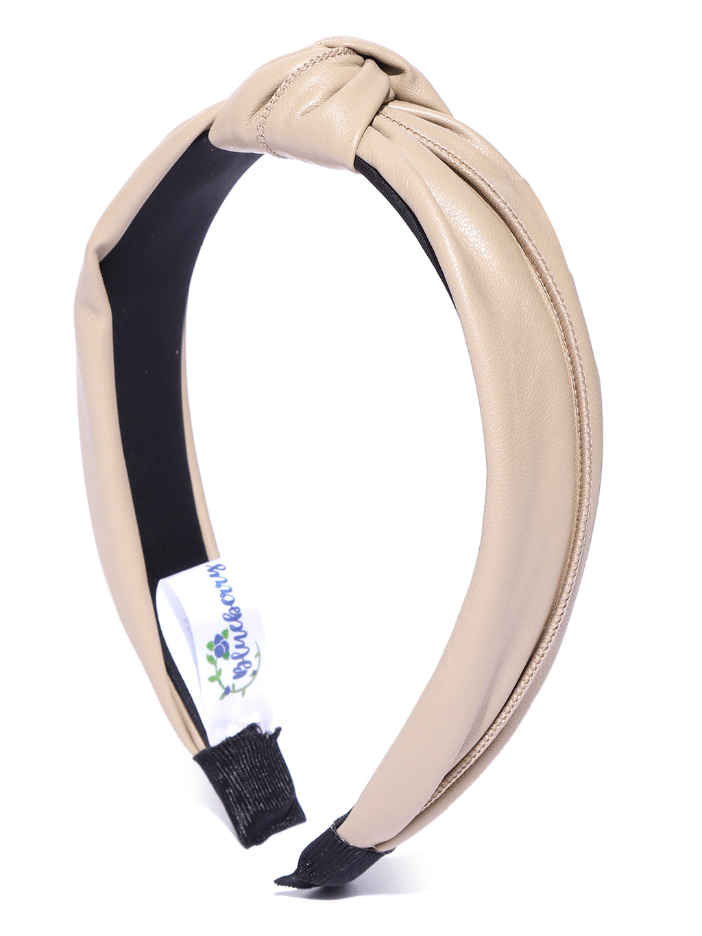 Blueberry beige synthetic leather knot hairband